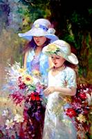 Two Young Girls Picking Flower