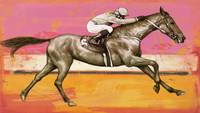 Horse racing stylised painting art poster