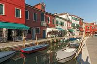 Colorful Houses, Canal and Boats, Burano, Venice