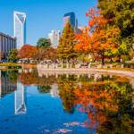 """charlotte city skyline autumn season"" by digidreamgrafix"