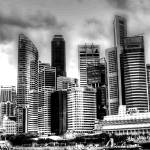 """Black/white Cityscape Singapore (wide)"" by sghomedeco"