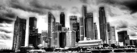 Black/white Cityscape Singapore (wide)