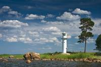 Lighthouse and beautiful clouds in the sky