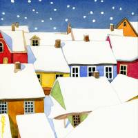 snowy village Art Prints & Posters by Kathy Johnson