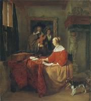 Woman Seated at Table and Man Tuning Violin