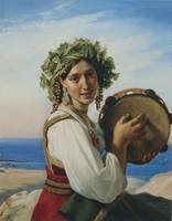 Young Woman with Tambourine in Ischia (1827)