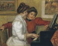Yvonne and Christine Lerolle Playing the Piano