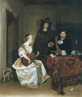 A Woman Playing a Theorbo to Two Men (1667–1668)