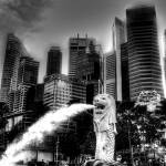 """Fantastic City Singapore - City and Merlion B/W"" by sghomedeco"