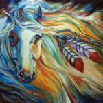 """Breaking Dawn Indian War Horse [SIGNED]"" by MBaldwinFineArt2006"