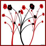 """Red and Black Flower Simplicity"" by TruthJC"