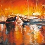 """FISHING BOATS AT DUSK"" by MBaldwinFineArt2006"
