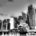 """City and Bridge Black/white - Cityscape Singapore"" by sghomedeco"