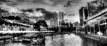 Clarke Quay B/W - Fantastic City Singapore Series