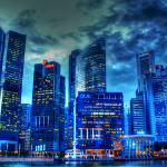 """CITY IN BLUE - Fantastic City Singapore Series"" by sghomedeco"