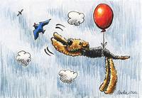 Airedale Terrier Air Balloon Bird Dog