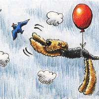 Airedale Terrier Air Balloon Bird Dog Art Prints & Posters by Off-Leash Art™