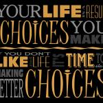 """Choices Motivational Quote Poster (Black/Orange)"" by dkocherhans"