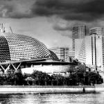 """Black and White City Series -Esplanade Theater, Si"" by sghomedeco"