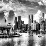 """Fantastic  City Singapore - Cityscape Skyline B/W"" by sghomedeco"