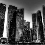 """City Skyline - Marina Bay Financial Center B/W, Si"" by sghomedeco"