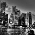"""City Skyline - Urban Landscape Singapore B/W"" by sghomedeco"