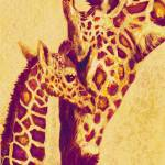"""gold and red giraffes"" by pietrastone"