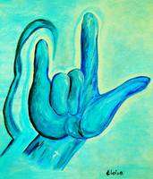 ASL I Love You in Blue