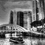 """City and Singapore River b/w - Urban Landscape Sin"" by sghomedeco"