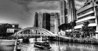 City and Singapore River b/w - Urban Landscape Sin