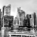 """City Skyline 2013 b/w - Urban Landscape Singapore"" by sghomedeco"