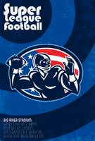 Super League Football Quarterback Retro Poster
