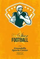 American All Star Football Retro Poster