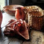 """Clay Pitchers, Bowl and Baskets"" by susansartgallery"