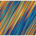 """Striped Line Rain of Yellows and Blues"" by LeahMcNeir"