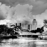 """Urban Landscape Singapore B/W : Singapore River"" by sghomedeco"