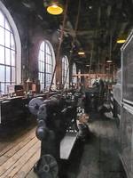 Heavy Machine Shop With Lamps