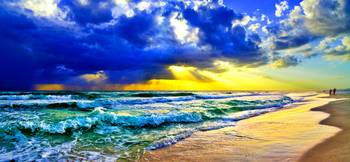 Golden Sunrays Sunset Beach Panoramic Landscape