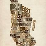 """Manhattan New York Typography Text Map"" by ModernArtPrints"