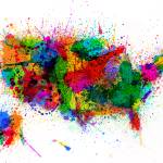 """United States Paint Splashes Map"" by ModernArtPrints"