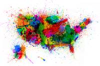 United States Paint Splashes Map