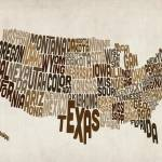 """United States Typography Text Map"" by ModernArtPrints"