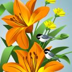"""Chickadees Among Lilies Art"" by waterart"