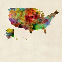 """United States Watercolor Map"" by Michael Tompsett"