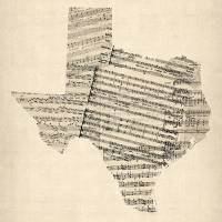 """Old Sheet Music Map of Texas"" by ModernArtPrints"