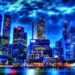 """City in Blue - Cityscape Singapore"" by sghomedeco"