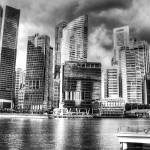 """Cityscape Singapore black/white"" by sghomedeco"