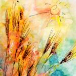 """Harvest Sun and Rye Modern Watercolor by Ginette"" by GinetteCallaway"