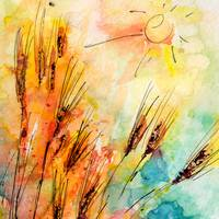 Harvest Sun and Rye Modern Watercolor by Ginette