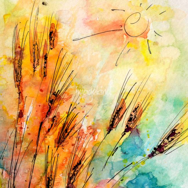 "Stunning ""The Grain Harvest"" Watercolor Painting ..."